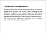 Algorithmic complexity theory
