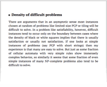 Density of difficult problems