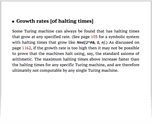 Growth rates [of halting times]