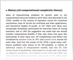 History [of computational complexity theory]