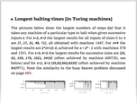 Longest halting times [in Turing machines]