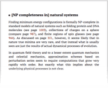 [NP completeness in] natural systems