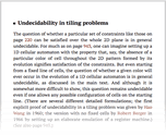 Undecidability in tiling problems