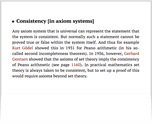Consistency [in axiom systems]