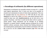 Encodings of arithmetic [by different operations]