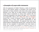 [Examples of] unprovable statements