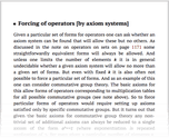 Forcing of operators [by axiom systems]