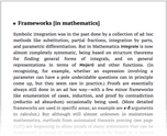 Frameworks [in mathematics]