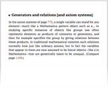Generators and relations [and axiom systems]