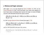 History [of logic axioms]