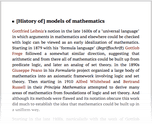 [History of] models of mathematics