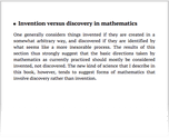 Invention versus discovery in mathematics