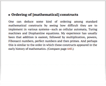 Ordering of [mathematical] constructs
