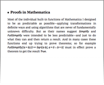 Proofs in Mathematica