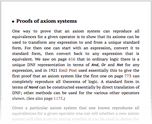 Proofs of axiom systems