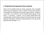 Properties [of operators from axioms]