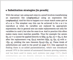 Substitution strategies [in proofs]