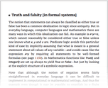 Truth and falsity [in formal systems]