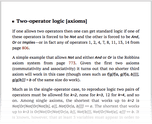 Two-operator logic [axioms]