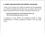 Audio representation [of cellular automata]