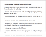 Intuition from practical computing