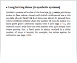 Long halting times [in symbolic systems]