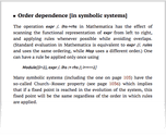 Order dependence [in symbolic systems]