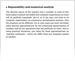 Repeatability and numerical analysis