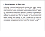 The relevance of theorems