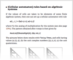 [Cellular automaton] rules based on algebraic systems