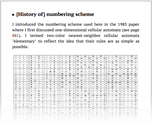 [History of] numbering scheme