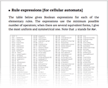 Rule expressions [for cellular automata]