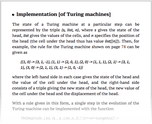 Implementation [of Turing machines]