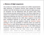 History of digit sequences