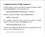 Implementation of digit sequences