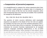 Computation of [recursive] sequences