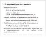 Properties of [recursive] sequences