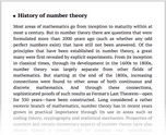 History of number theory
