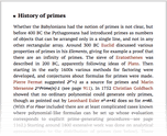 History of primes