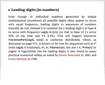 Leading digits [in numbers]