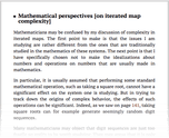 Mathematical perspectives [on iterated map complexity]