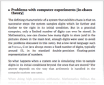 Problems with computer experiments [in chaos theory]
