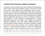 History [of continuous cellular automata]
