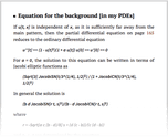 Equation for the background [in my PDEs]