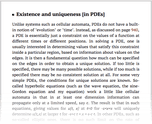 Existence and uniqueness [in PDEs]