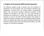 Origins of the [partial differential] equations
