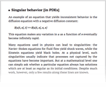Singular behavior [in PDEs]
