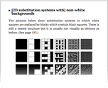 [2D substitution systems with] non-white backgrounds