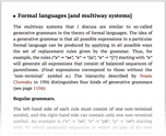 Formal languages [and multiway systems]