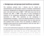 Semigroups and groups [and multiway systems]